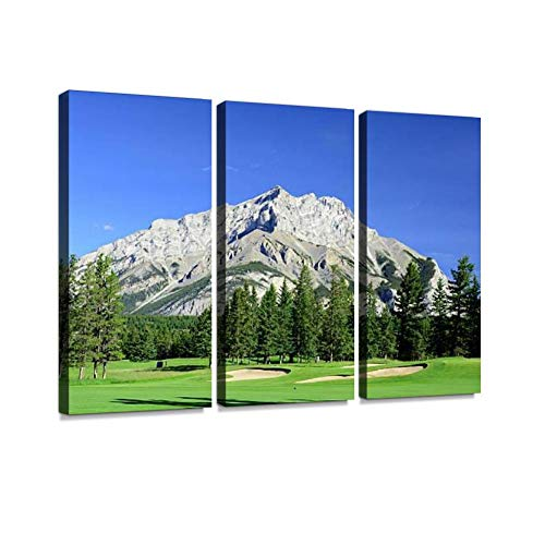 BELISIIS Mountain Golf Course Wall Artwork Exclusive Photography Vintage Abstract Paintings Print on Canvas Home Decor Wall Art 3 Panels Framed Ready to -