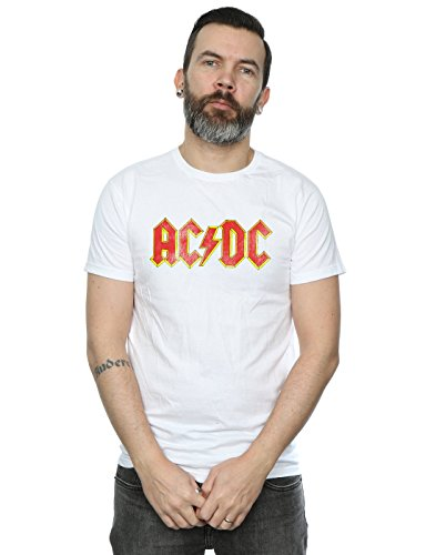 (AC/DC Men's Distressed Red Logo T-Shirt Small White)
