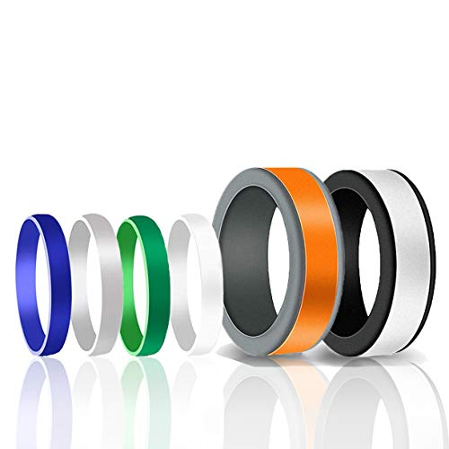 Srnfean Men's Silicone Fashion Rings 5 Colors Replaceable