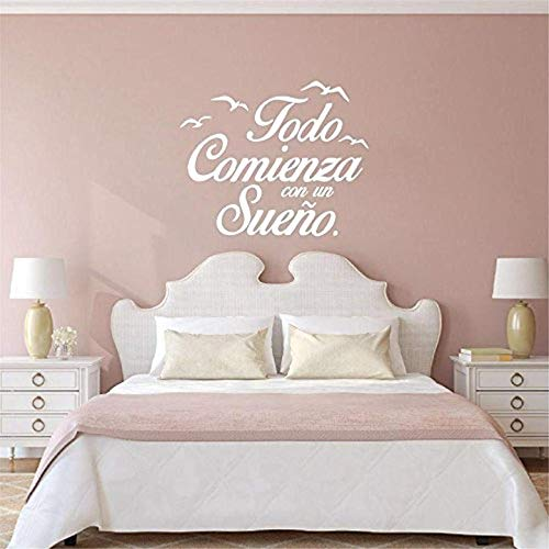 Vinyl Wall Decals Home Decor - Todo Comienza Can Un Sueno in Spanish with Birds - Home Art Vinyl Decor BR9367 ()