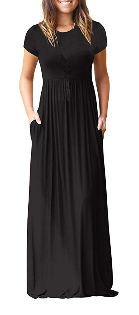 9721a138055 Viishow Women's Short Sleeve Loose Plain Maxi Dresses Casual Long Dresses  with Pockets product image