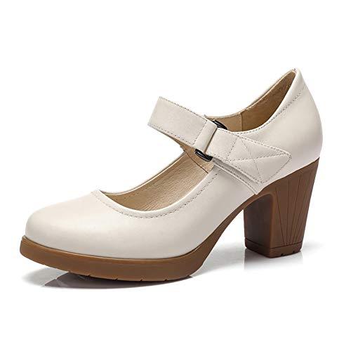 Impermeable Zapatos Cuero Plataforma Y Beige De Otoño Versión Alto Mujer Primavera Tacón Solo Grueso Coreana rgUfPxgn0
