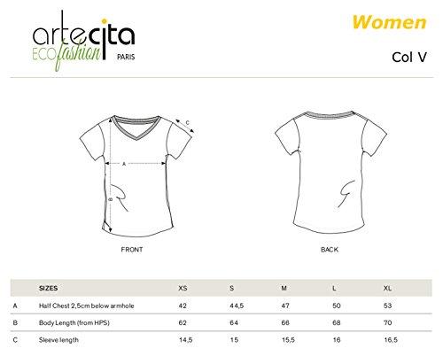 T-Shirt Imprimé Bio Col V Blanc Manches courtes - Une maman trop géniale - Femme du XS au XL