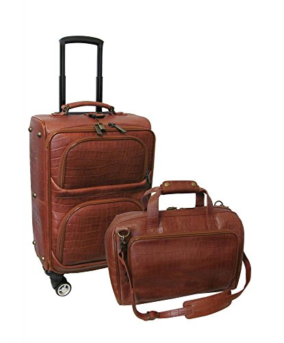 AmeriLeather Traveler Croco Print Leather 2pc Spinner Luggage Set (Brown)