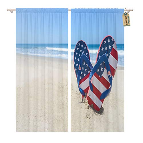 Golee Window Curtain Blue July Patriotic USA Flip Flops Sandy Beach Red Home Decor Rod Pocket Drapes 2 Panels Curtain 104 x 96 inches
