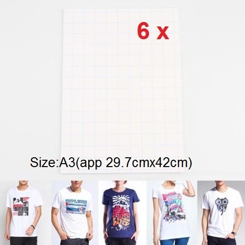 Vale® [6 Sheets] A3 T-shirt Heat Transfers paper for Inkjet Printers for White or Light Colored Fabric