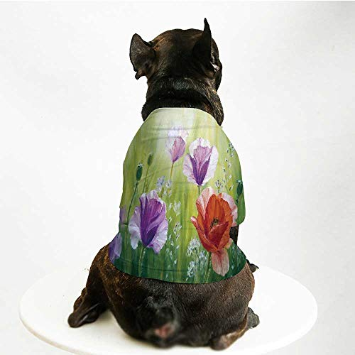 YOLIYANA Flower Custom Pet Suit,Sunset Hill with Poppy Dandelion and Daisy Flowers in Fields Artistic for Cats and -