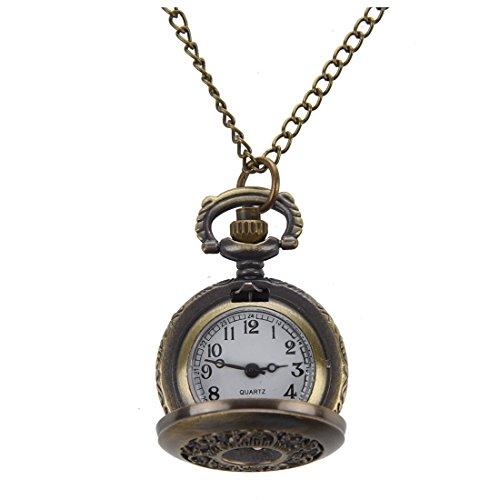 SODIAL(R) Collier en bronze pour les dames Pendentif de montre de poche sculpte
