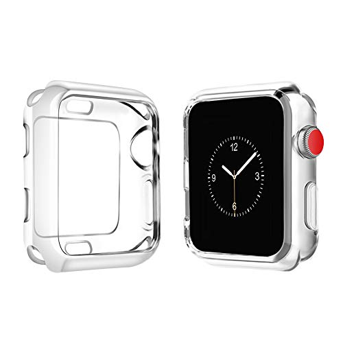 top4cus Scratch-Resistant Soft Flexible TPU Lightweight Protective Protector Bumper Compatible Apple Watch Case 44mm 42mm 40mm 38mm iwatch Series 4 Series 3 Series 2 Series 1 - Clear, 40mm