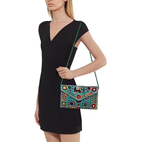 6 Girls Women Sling Art amp; for Green Rajasthani Bag Foldover Inches Clutch 9 Jaipuri 6fdw76q