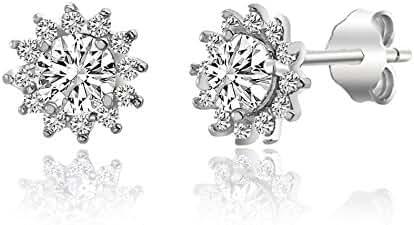 Sterling Silver Cubic Zirconia Flower Design Post Earrings
