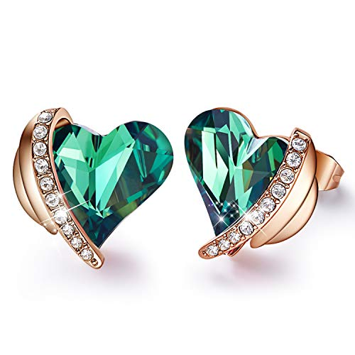CDE Women Earrings 18K Rose Gold Heart Stud Earrings Set Embellished with Crystals from Swarovski Jewelry Gift for Women