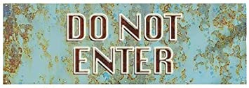 CGSignLab Ghost Aged Blue Wind-Resistant Outdoor Mesh Vinyl Banner 12x4 Do Not Enter