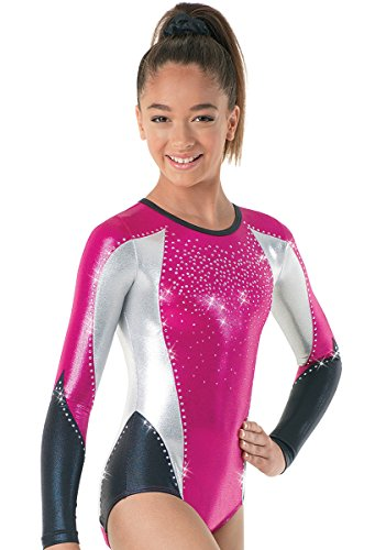 (Balera Gymnastics Metallic Leotard Long Sleeve Peony/Berry Fuc Adult Medium)
