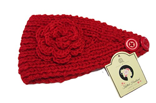 Alirina Women's Knitted Flower Buttoned Headband (Red)