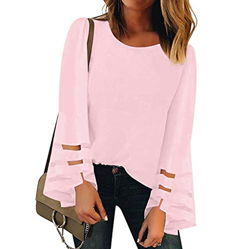 (Women's Tops V Neck Mesh Panel Blouse 3/4 Bell Sleeve Casual Loose Solid Color T Shirt (L, Pink-1))