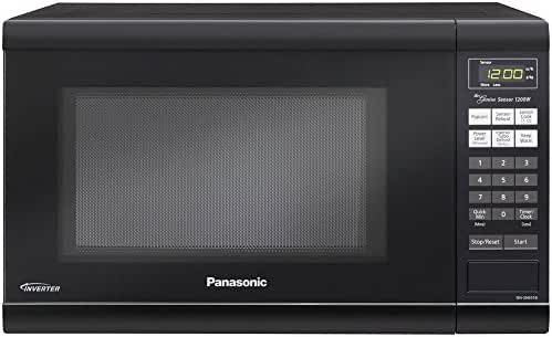 Microwave Oven Premium Compact Countertop Panasonic Electric Stainless Steel Black Turntable 1200 Watt Cookware with Inverter