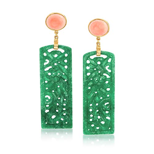 Ross-Simons Carved Green Jade and Pink Coral Drop Earrings in 14kt Gold Over - Oval Earrings 14kt Jade Green