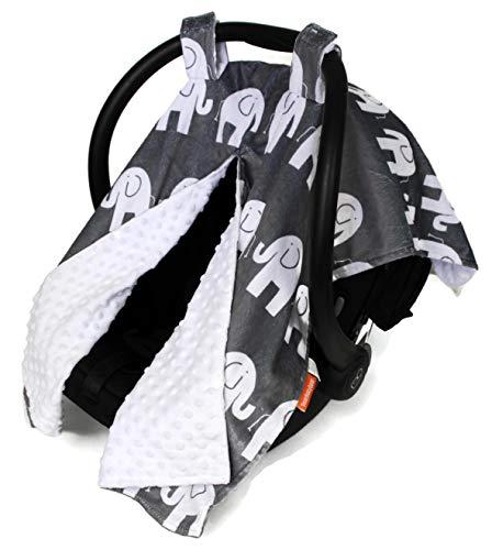 Dear Baby Gear Deluxe Car Seat Canopy, Custom Minky Print White Elephants, White Minky Dot