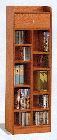 oak-finish-wood-shelf-multimedia-organizer-cd-dvd-rack-w-drawer