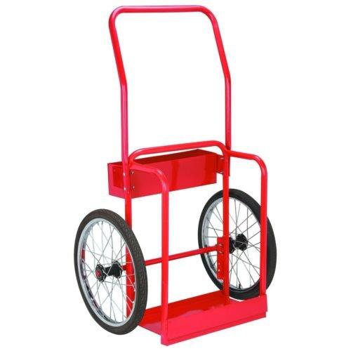 Red Steel Welding Cart Hauls Welding Tanks Torch Equipment Over Rough Terrain (Cart Equipment Terrain)