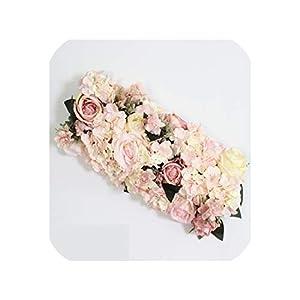 Customize 35cm Artificial Flower Ball centerpieces Decor Wedding Arch Wall Table Flower+Candlestick Peony Hydrangea Flower Row,Light Link B