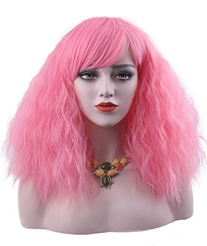 Women's Short Curly Fluffy Christmas Pink Wig Bob Wigs with Fringe for Women Costumes Cosplay Party(Pink) ()