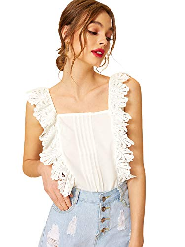 - SheIn Women's Summer Sleeveless Floral Lace Pleated Tank Blouse Shirt Top Medium White