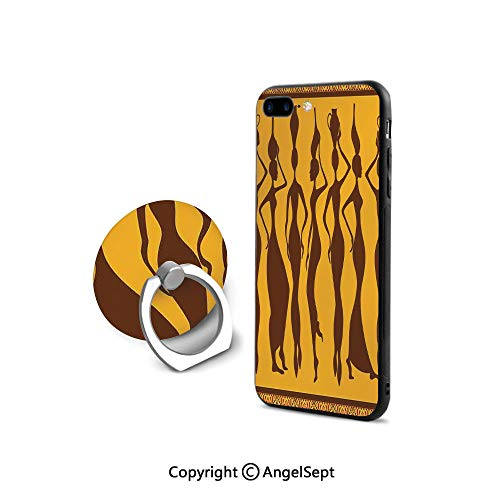 Protective Case Compatible iPhone 7/8 with 360°Degree Swivel Ring,Silhouette of Sexy Female Bodies Exotic Design Savannah Women Artwork Print,Durable Soft Touching,Brown Merigold