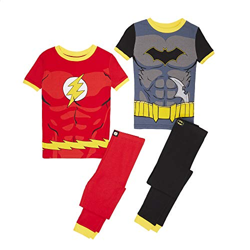 Justice League Boys 4 Piece Cotton Pajama Set, Multi, -