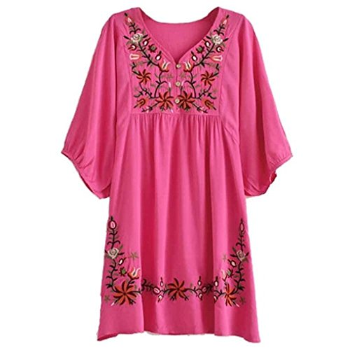 Yaketera Women Mexican Embroidered Peasant V Neck Mexican Tops Blouses  (Fuschia),One Size