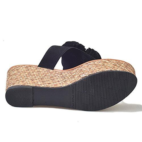 Playa Grueso de cuñas Jones Giles diseño Mujer de Fondo Zapatillas Sandalias Negro para wqq8PHX