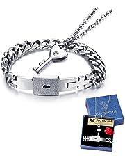 Coppia bracciale e collana da uomo e donna, set di gioielli, in acciaio inox, bracciale a catena, ciondolo a forma di chiave, collana per partner di 45cm, colore argento.