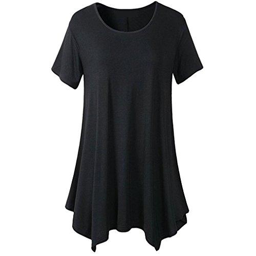 Forthery Summer Women's Short Sleeve Flare Tunic Tops Hem T Shirt for Leggings (M, Black)