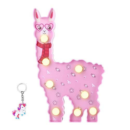 - Glintee Alpaca Night Light Birthday Gifts Llama Marquee Signs Vicuna Battery Operated Warm Light Home Decor Wall Decoration for Kids,Baby Shower, Nursery, Bedroom,Living Room