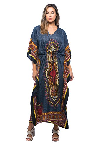 Riviera Sun 21754-BLK-L-XL Long Dashiki Caftan/Caftans For Women