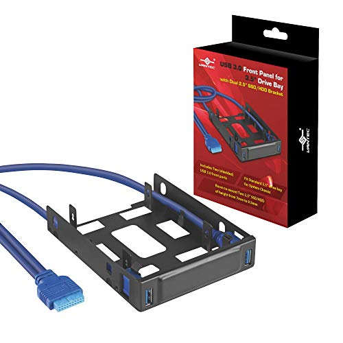 """USB 3.0 Front Panel for 3.5"""" Drive Bay with Dual 2.5"""" SSD/HDD Bracket (HDA-302H)"""