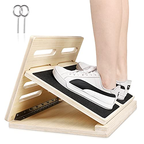 HBOKIT Wooden Slant Board,Adjustable 4 Level Calf Stretcher Ankle and Foot Incline Board,Foldable Design Professional Stretching Equipment for Leg Stretcher Squats Exercise