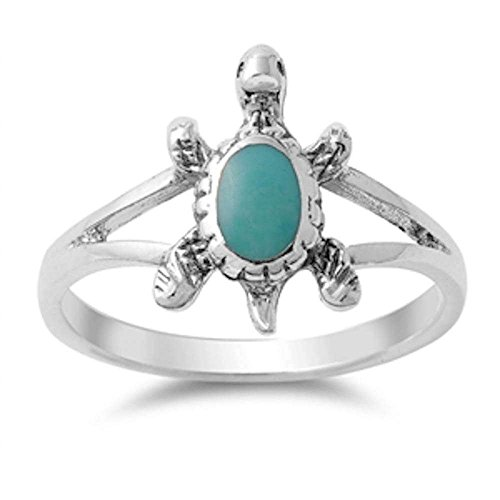- Oxford Diamond Co Solid Simulated Turquoise Turtle .925 Sterling Silver Ring Size 8