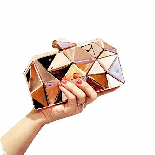 Evening Handbag Light Gold EROUGE Clutch Geometic Purse Fashion Metal Womens Clutch nOFqgp