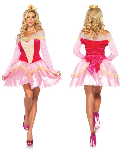Sexy Disney Princesses (Leg Avenue Disney 2Pc. Princess Aurora Costume Dress with Organza Stay Up Collar and Crown Headpiece, Pink, Small)