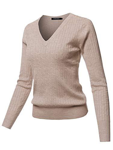 Solid V-Neck Long Sleeve Viscose Nylon Cable Knit Sweater Top Khaki S ()