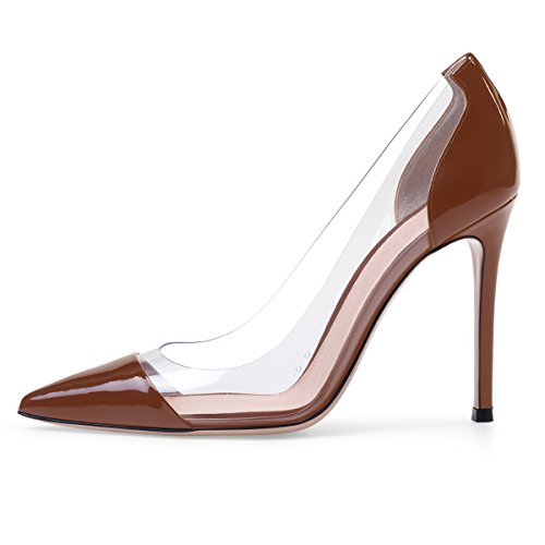 - Sammitop Women's Pumps Pointed Toe Brown Patent Shoes 10cm High Heel Shoes US8