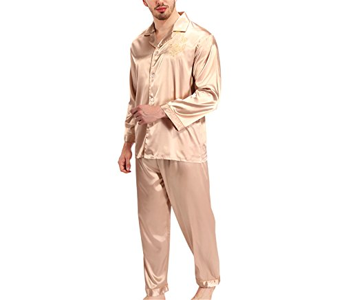 Wigeo Silk Pajamas Women Long Sleeve Solid Satin Pyjamas Men Love Sleepwear Woman's Lounge Couples Pajama Sets Pijama Champagne1 L by Wigeo