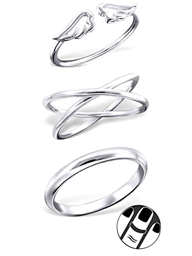 925 Sterling Silver set of 3 Angel Wings, Plain, Crossed Above Knuckle Ring Mid Finger Top (Silver Above Knuckle Rings)