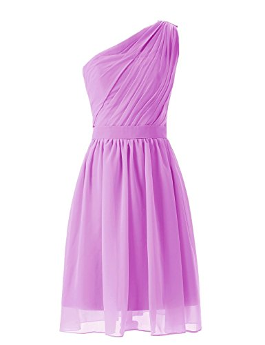 Short Bridesmaid Women's Simple Chiffon Olidress Liliac One Shoulder Dress XBfnW