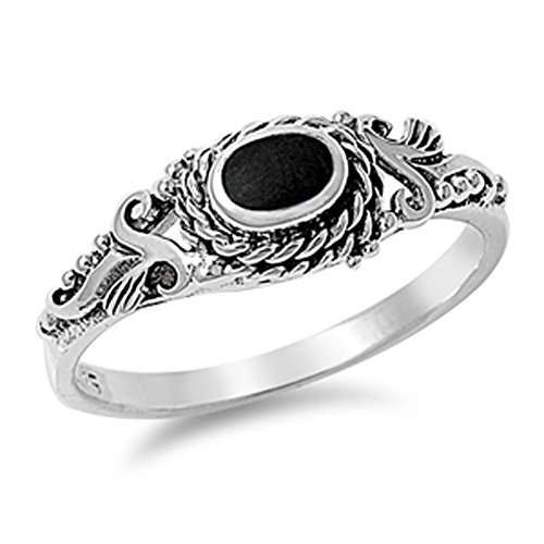 Onyx Vintage Ring (Women's Simulated Black Onyx Unique Vintage Design Ring New 925 Sterling Silver Size 6)
