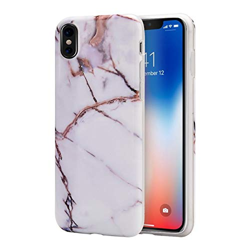 Insten Marble TPU Rubber Candy Skin Case Cover Compatible with Apple iPhone X/XS, White/Gold