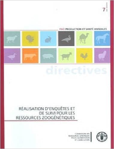 Réalisation d'enquêtes et de suivi pour les ressources zoogénétiques (Fao Production Et Sante Animales - Directives)
