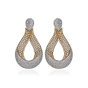 Coché Jewelry Eastern Elegance Earrings: CZ Accent Earrings with 24K Gold and Rhodium Veneering